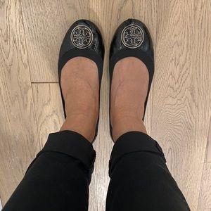 Tory Burch Black Patent Leather Flats
